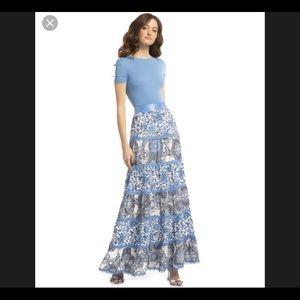 "Alice and Olivia ""Blue Lesa Paneled Maxi Skirt"""